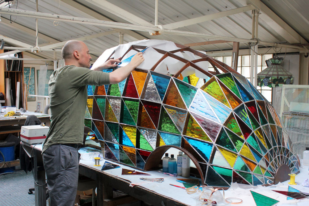 Stained glass driverless sleeper car