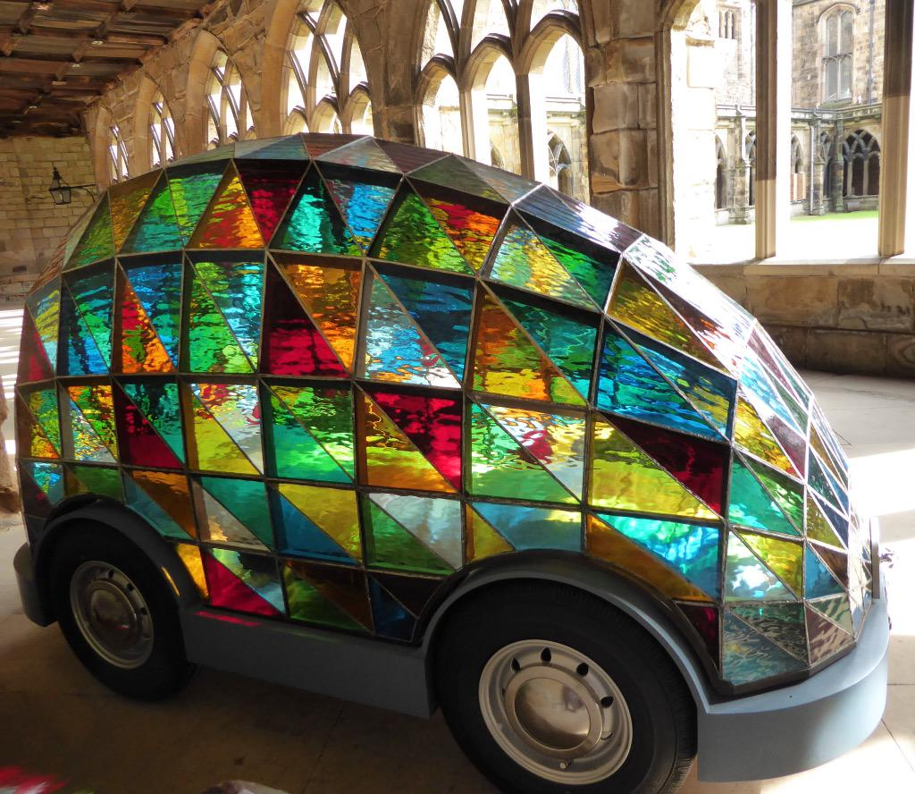 Stained glass car Durham Cathedral
